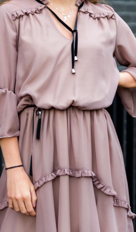 tiulowa różowa sukienka asymetryczna z zakładkami z rękawami
